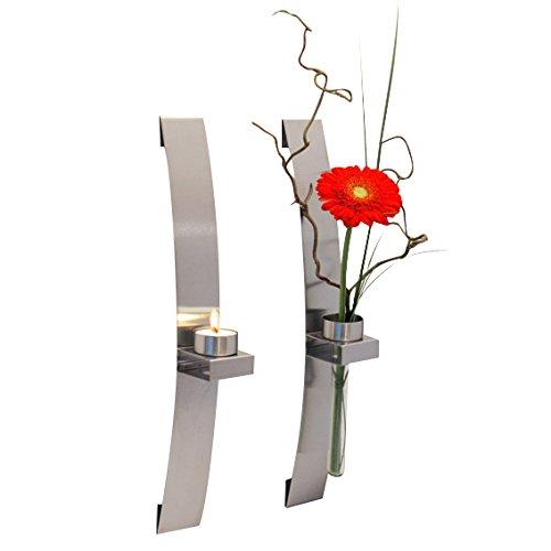 Wandkerzenhalter mit Vase, Länge 39,5cm