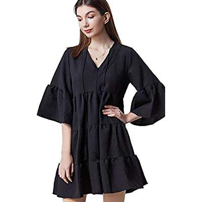 Amazon - Save 51%: JQJ Women's V Neck Casual Tunic Dress,Bell Sleeve Ruffle Tiered Pleated Loo…
