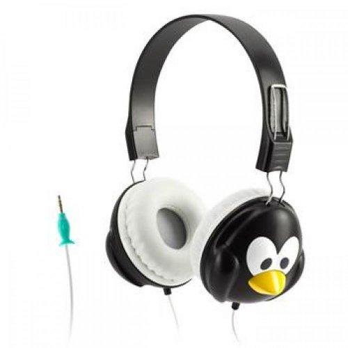Griffin KaZoo MyPhones Kopfhörer im Pinguin-Design für Kinder - schwarz/weiß [Lautstärkebegrenzung bei 85dB | Gepolsterte Ohrpads | 3,5mm Klinkenkabel] - GC35863