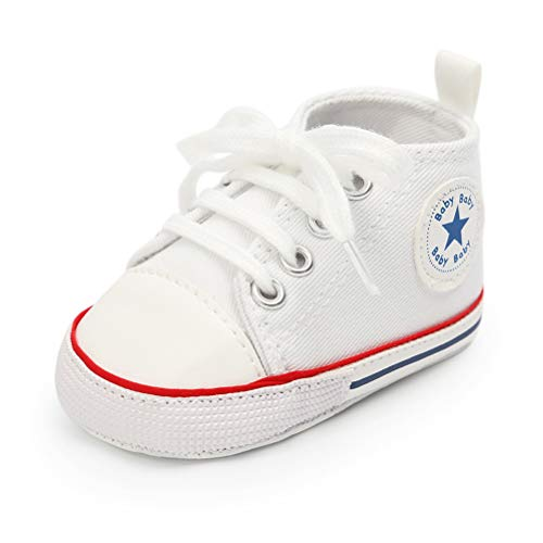 Unisex Baby Girls Boys Canvas Shoes Soft Sole Toddler First Walker Infant Sneaker Newborn Crib Shoes(White,0-6Month)