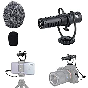 Compact Smart Cell Phone Shotgun Microphone, Camera Video Mic for iPhone, Android Phone, GoPro Hero, DJI Osmo, DSLR, Video Camera on Vlogging/Wedding/Interview/Podcasting/Facebook Live/Run-n-gun Shoot