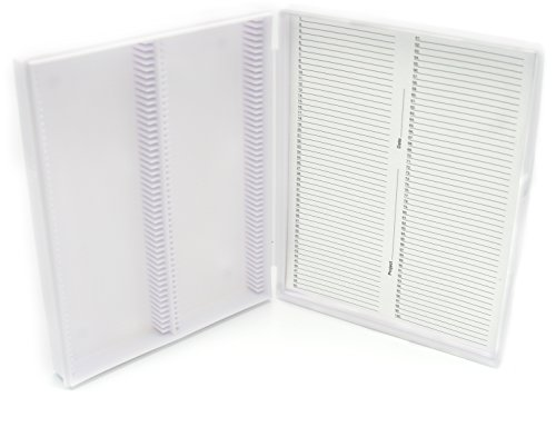 Heathrow Scientific HD15991C Economy - Caja para portaobjetos (polipropileno, capacidad: 100 portaobjetos, longitud x anchura x altura: 210 mm x 169 mm x 37 mm), color blanco