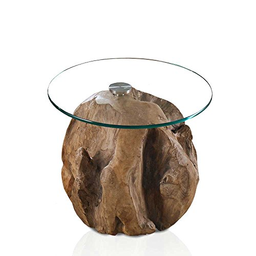 Pharao24 Runder Couchtisch aus Teak Wurzelholz Glas