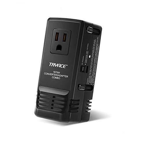 Tryace 1875W Worldwide Travel Converter Adapter Transformer Set Down Voltage 220V to 110V Combo International Voltage Converter for Hair Dryer UK/AU/US/EU