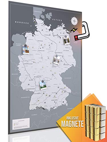 VACENTURES Magnetische Pinnwand Deutschlandkarte XXL inkl. 2 x 15 magnetische Pins I Markiere Deine Reiseziele I Sammel Fotos & Magnete I Magnet Poster (DIN A0 119x84cm)