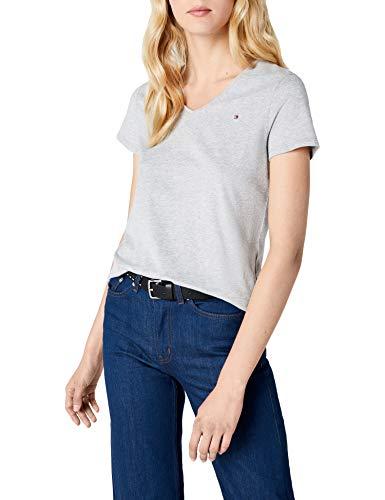 Tommy Hilfiger Damen WW0WW14930 T-Shirt, Grau (Light Grey Htr 039), 38 (Herstellergröße: M)