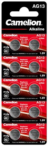 Camelion AG13-BP10 Alkaline Knopfzellen ohne Quecksilber AG13/LR44/LR1154/357, 1,5 Volt, 10er-Pack