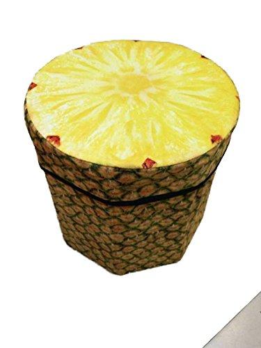 Jessie & Letty - Sgabello contenitore pieghevole, 38x 38x 38cm, in pelle PU, a cubo, seduta in pelle pineapple