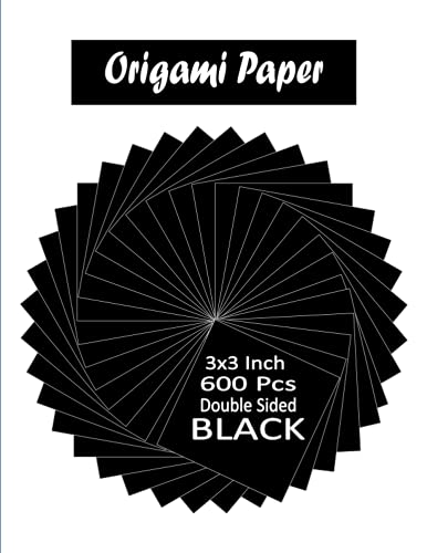 Black Origami Paper: 600 Pcs, 3x3 Double Sided Squares 'To Cut Out' for Arts, Paper-craft and Crafts