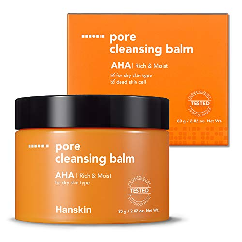 Hanskin AHA Pore Cleansing Balm, Alpha Hydroxy Acid, Exfoliating, Gentle Blackhead Cleanser and Makeup Remover Balm [80g]