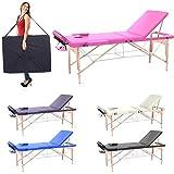 Camilla de masaje profesional 3 zonas de madera, 195 x 70 cm - mesa de masaje, cama para cosmetlogo esteticista, estetica terapia,Tattoo,porttil plegable nuevo Reiky (rosa)