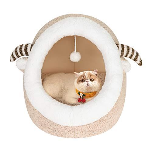 Cama para gato, cómoda y cómoda para gatos, 2 en 1, suave sofá nido para mascotas, cama de felpa cálida, cama con cojín extraíble para perro, cachorros, pequeños animales