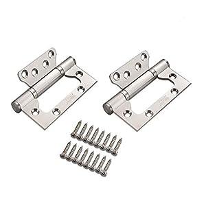 Bisagras 100MM*35MM, GKONGU Par de Casa Bisagra para Puerta de Acero Inoxidable Bisagras de Repuesto Cojinete de Bolas Mute