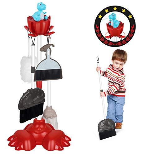DX DA XIN Putzset für Kinder - Dinosaurier Besen Spielzeug Set mit Staubsauger Kinderstaubsauger Reinigungswagen mit Viel Zubehör Reinigungsspielzeug (7 Teile)