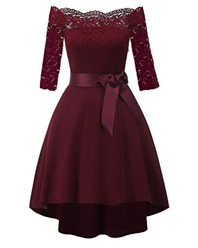 Laorchid Damen Kleider elegant Spitzenkleid Knielang a Linie Sommerkleid für Hochzeit 1950er Vintage Retro cocktailkleid Rockabilly 1/2 Arm Burgundy S