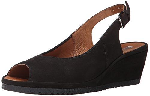 ARA Women's Colleen Wedge Sandal, Black Nubuck, 9.5 M US