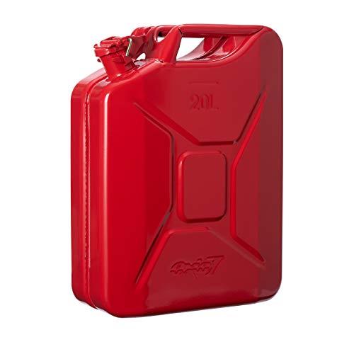 Oxid7® Bidón de Combustible Homologado de 20 Litros - Garrafa de Gasolina y Diésel en Metal con Aprobación de la ONU - Ideal para Viajes Largos; Uso de Cortacésped o Motosierra - Rojo