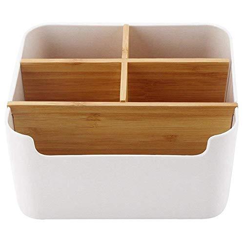 Holz Desktop Stift, Schreibtisch Organizer Bambus, Multifunktionale Aufbewahrungsbox Schreibtisch Zubehör für Pen Schere Handy Notebook Gläser Fernbedienung Make-up