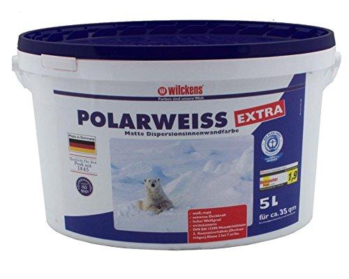Polarweiss innen Wandfarbe weiss blauer Engel inkl. 4x 5m Abdeckfolie (Polarweiss 5 Liter)