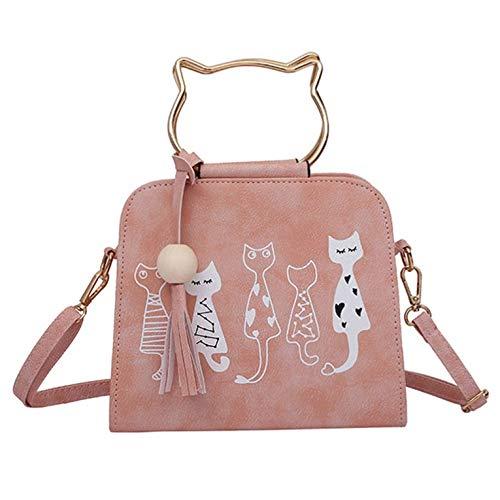 Tree-es-Life Bolso Personalizado con Forma de Conejo, Bolso con Estampado de Animales, Bolso de Hombro con Gato de Cuero de Moda para Mujer, Rosa