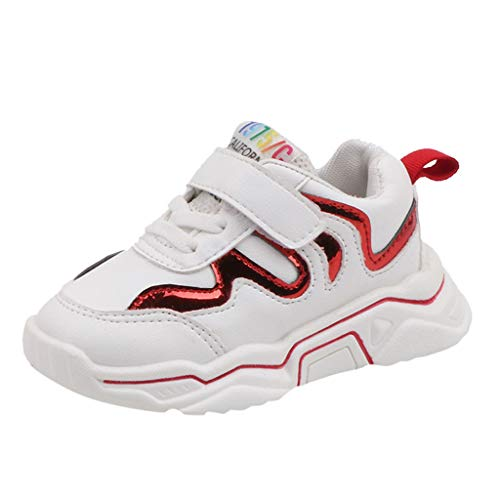 Alwayswin Kinder Jungen Mädchen Sport Turnschuhe Atmungsaktive Laufschuhe Bequeme Sneakers mit Weichem Boden Klettverschluss Sportschuhe Mode Outdoor Kinderschuhe