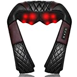 Shiatsu Neck and Back Massager with Heat, WOQQW Electric Deep Tissue 4D Kneading Shoulder Massage Pillow for Shoulder, Back and Neck, Muscle Pain Relief - Best Gifts Women/Men/Dad/Mom