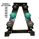 j/fit Dumbbell Set w/Durable Rack   Solid Design   Double Neoprene Coated Workout Weights Non-Chip and Flake   Dumbbells Sets For Gyms, Pilates, MMA, Training, Schools (74lb Set)