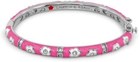 Lauren G. Adams Girl's Rhodium-Plated Flowers Bangle with Pink Enamel