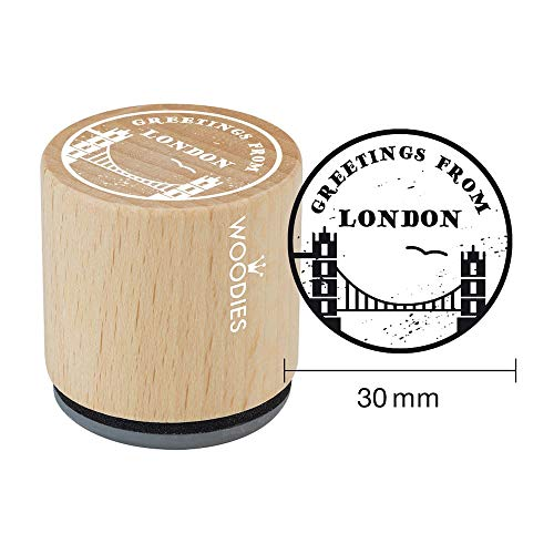 Woodies stempel Greetings. Towerbridge, hout, 3,4 x 3,4 x 3,5 cm