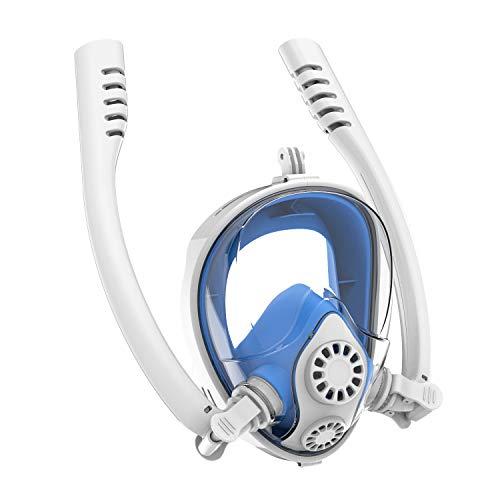 RatenKont Mascarilla de Snorkel de Cara Completa Doble Aliento Buceo Mascarilla de Snorkel Submarino Scuba de Buceo Snorkeling White Blue 14 S/M