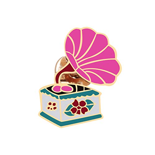 JTXZD broche Cartoon Roze Phonograph Gramophone Lamp Broche Dier Polar Beer Emaille Pin Metalen Broches Voor Vrouwen Denim Bag Badge Pin op