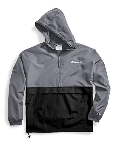 Champion Men's Colorblocked Packable Jacket, Rich Stone Grey/Black, Large