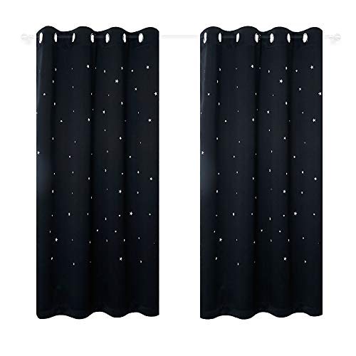 Anjee Kids Room Curtains with Laser Cutting Stars, 2-Panel Blackout Window Curtain Drapes for Light Blocking and Noise Reducing, W52 x L63 Inches Each Panel, Black