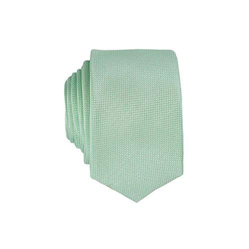 Notch Schmale Krawatte aus Seide für Herren - Mintgrüne Leinwandbindung