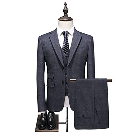 LEPSJGC ジャケットベストパンツメンズファッションスリムフィット男性ビジネスフォーマルスーツブレザーコートパンツスリーピースセット (Color : Gray a, Size : L code)
