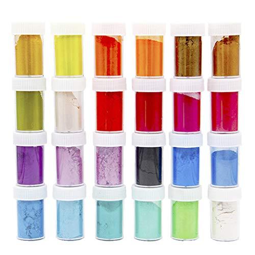 Hothap pigmentpoeder voor hars 24 pc/set, parelglans poeder Mica Glitter Sliam DIY De productie epoxy pigment