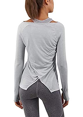 Bestisun Yoga Tops for Women Long Sleeve Workout Shirts for Women with Thumb Hole Gray M