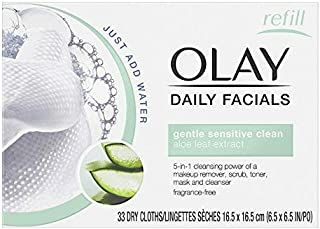 OLAY Daily Gentle Clean 5-in-1 Water Activated Cloths, 33 Ea (Pack of 4)