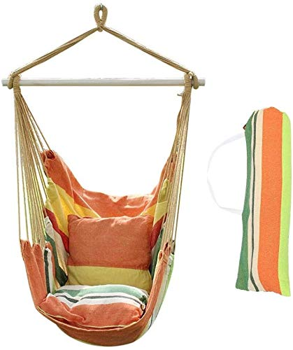 XCJJ Hammock Swing Chair, Soft Cushioned Rope Hanging Swing Set, Garden Hanging Rope Hammock Chair Porch Swing Seat with Two Cushions for Yard Porch Patio (Seaside Stripes) (Color : Summer Breeze)