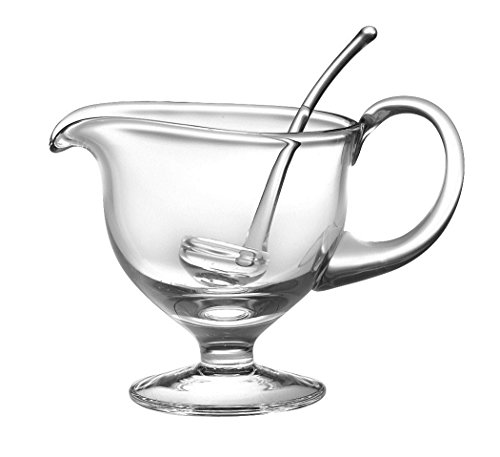"Barski- Glass - Gravy Boat with Ladle - Gravy is 8.5"" L - 5""H - Ladle is 5.5""L - 12.5 oz - Handmade Glass - Made in Europe"