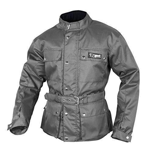 JET Chaqueta Moto Hombre Impermeable Textil con Armadura Vintage Retro Clásico (M (EU 48-50), Gris)