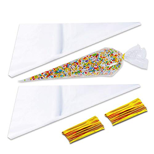 Sweet Cone Bags and Ties 100pcs Cellophane Cone Bags with 100 Gold Twist Ties for Sweets Party Christmas Crafts Snacks Candies Popcorn Chocolates Marshmallow Gifts (17*37cm 100pcs)