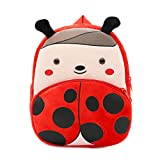 New Toddler's Backpack,Toddler's Mini School Bags Cartoon Cute Animal Plush Backpack for Kids Age 1-4 Years (Ladybug)