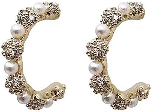 JIAJBG Señoras Elegantes Brillantes Artificiales Zircon Rhinestone Aro Aros Imitando Pendientes de Aro de Perla para Fiestas de Compras Exquisito