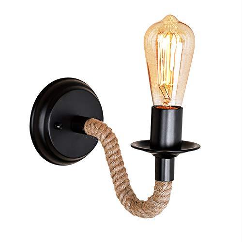 Vintage DIY Weben Hanfseil Wandleuchte, amerikanischen Retro Landhausstil Eisen Wandleuchten, personalisierte kreative Wohnzimmer Korridor Gang E27 Wandlampe Innenbeleuchtung (A)