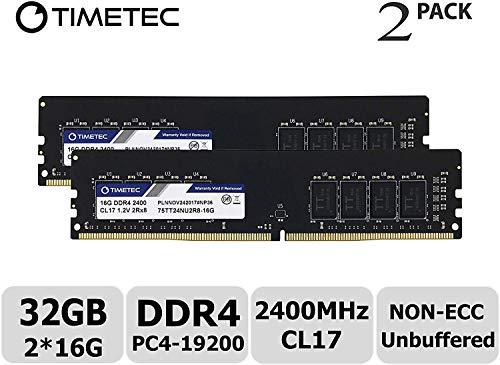 Timetec Hynix IC DDR4 2400MHz PC4-19200 Non ECC Unbuffered 1.2V CL17 2Rx8 Dual Rank 288 Pin UDIMM Desktop PC Computer Memory Ram Module Upgrade (32GB Kit (2x16GB))