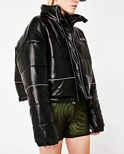 JUSTTIME Herfst en Winter Reflecterende Korte Hoge Taille Stand Collar Jas Katoen Jas Vrouwen M Zwart