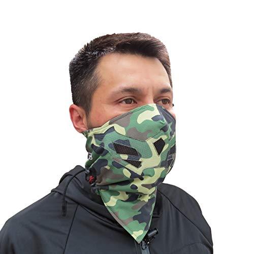 Half Face Gesichtsmaske für kaltes Winterwetter. Diese Halbmaske ist für Snowboard, Ski, Motorrad geeignet. (in vielen Farben lieferbar) (Camo- Green)