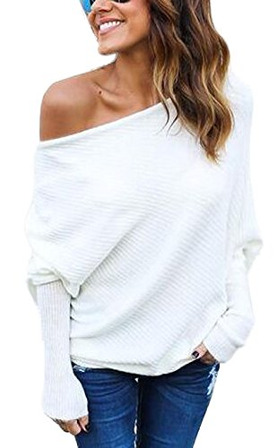 Damen Loose Fledermausärmel Sweatshirt Sexy Off Shoulder Pullover Casual Strick Oberteile Langarm T-Shirt Tops Frauen, Weiß, L