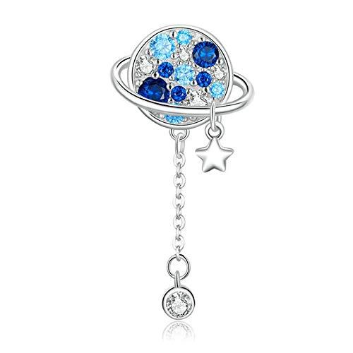 HMMJ S925 Sterling Silver Charms Beads, Azul Planeta DIY Espacio Romántico Hecho A Mano Compatible con Pandora Troll Chamilia Pulsera Europea Collares